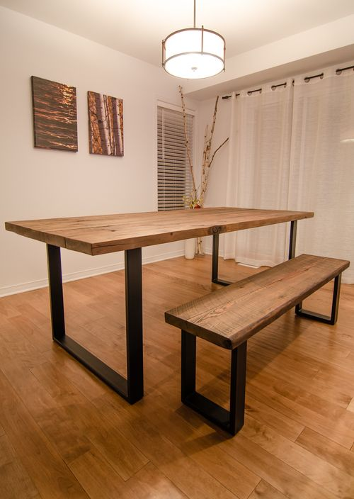 """Industry reclaimed 2"""" Hemlock table and Bench with 1x4 U style, powder coated steel legs."""