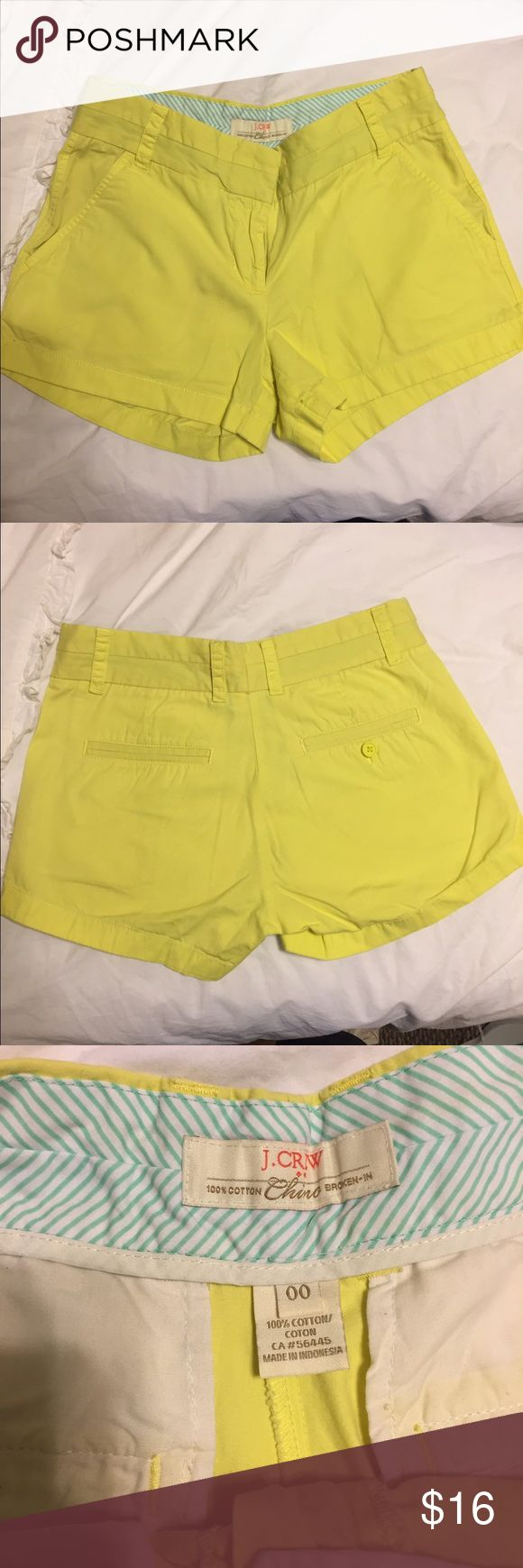 Yellow/lime green J.crew broken in chinos Yellow/lime green J.crew broken in chinos, 3 inch inseam. Size 00. Like new condition, all buttons present, no stains, no tears. Pictures show the color really well J. Crew Shorts