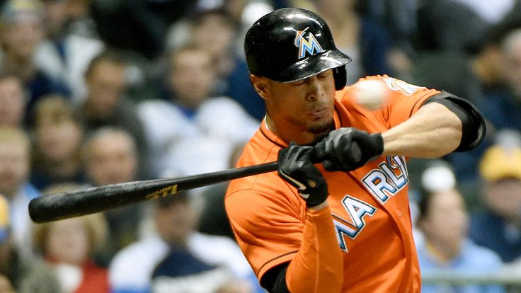 Marlins slugger and NL Most Valuable Player candidate Giancarlo Stanton was hit by a pitch in the face Thursday night by Brewers pitcher Mike Fiers.
