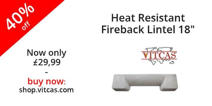 "Heat Resistant Fireback Lintel 18"" now 40% off! Buy now: http://shop.vitcas.com/heat-resistant-fireback-lintel-18-658-p.asp"