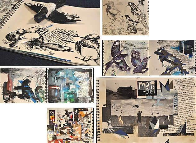Advanced Higher Art sketchbook pages (SQA) by Catherine Larsson-Wolfe