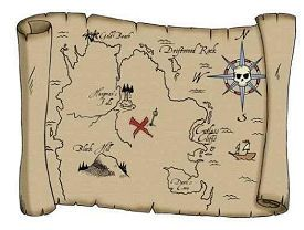 Pirate treasure map wall decal sticker for a baby nursery or kids room wall mural