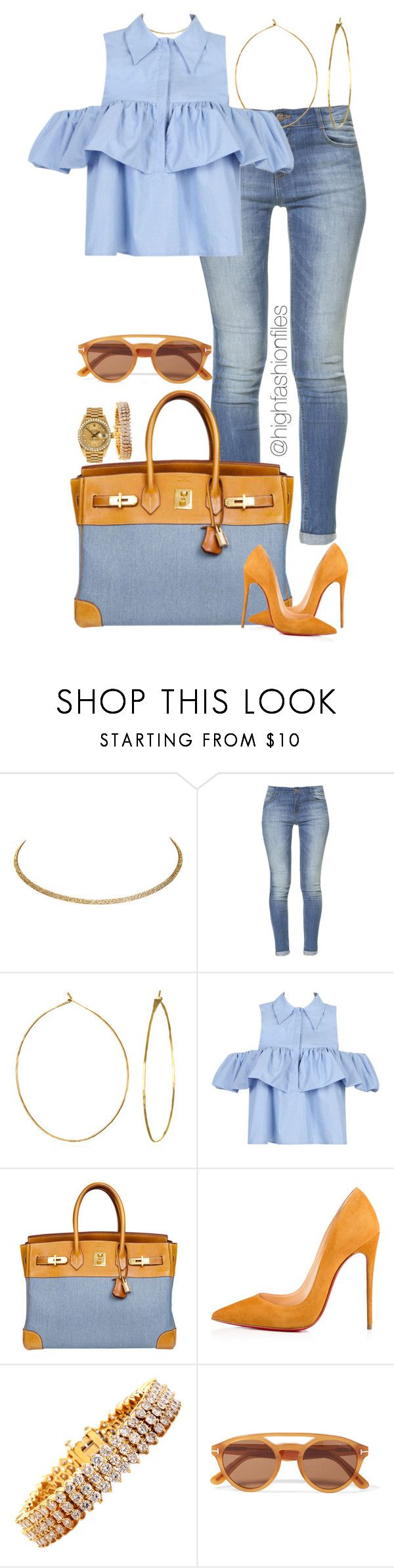 """""""Untitled #2734"""" by highfashionfiles ❤ liked on Polyvore featuring Wet Seal, Zara, Phyllis + Rosie, WithChic, Hermès, Christian Louboutin, Rolex, Jose Hess and Tom Ford"""