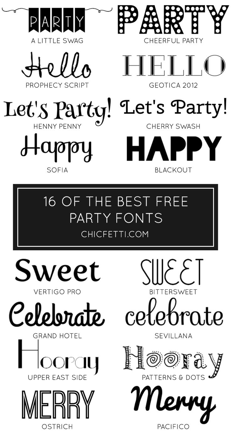 16 of the best free party fonts - perfect for diy party invitations and decorations!