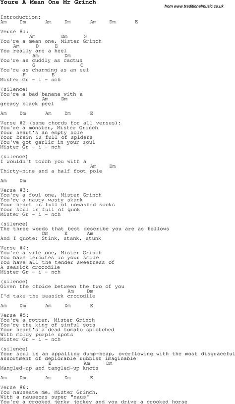 Christmas Songs and Carols, lyrics with chords for guitar banjo for Youre A Mean One Mr Grinch