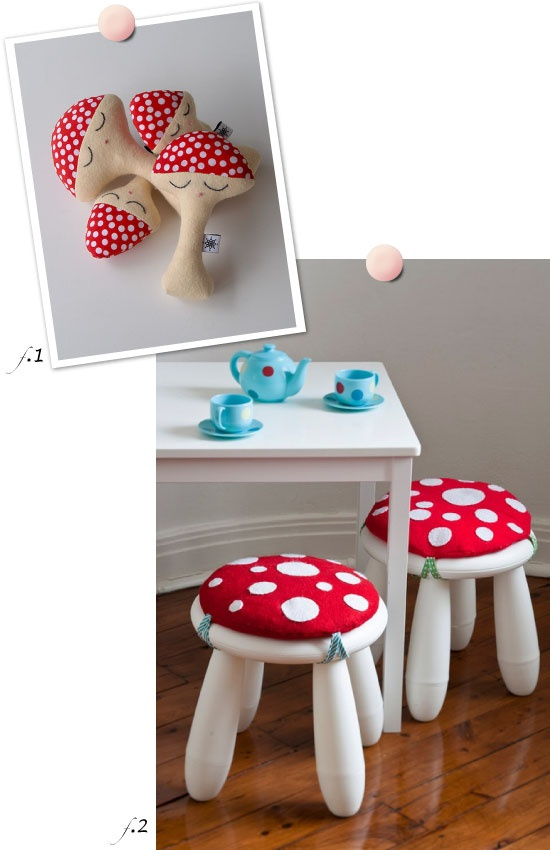 easy DIY mushroom cushions and ikea stools