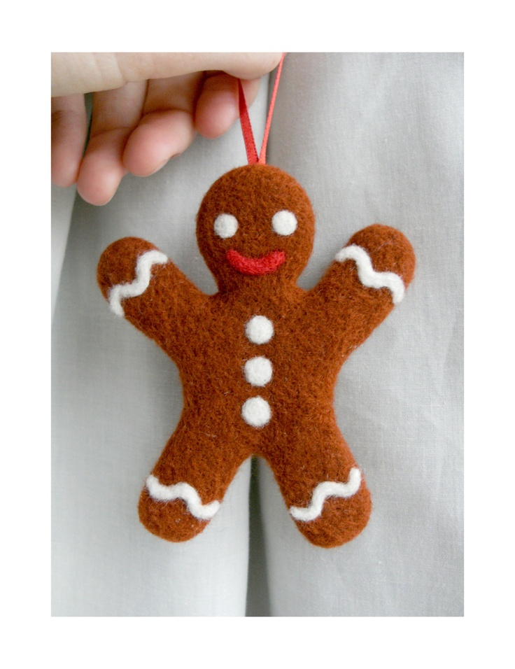 Needle Felted Gingerbread Man Christmas Decoration. $15.00, via Etsy.