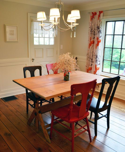 Vintage Industrial Tilt Top Drafting Desk Drawing Table Used As Dining Room