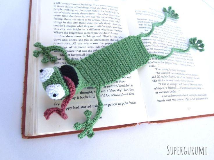 Amigurumi Frog Bookmark crochet pattern - Allcrochetpatterns.net