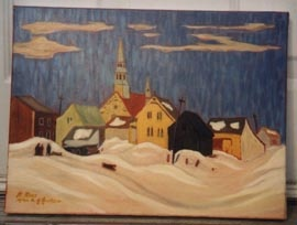 Copied from A.Y.Jackson's painting of a Quebec Town by R. Ross.