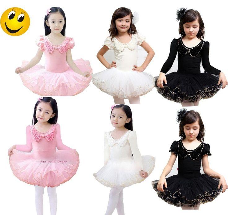 Девочки дети короткий рукав Dancewear купальник балет пачка скейт ну вечеринку юбка SZ3-9Y розовый белый черный