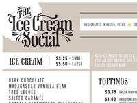 Ice Cream Social Menu.