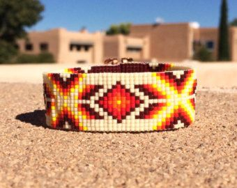 Socorro Tan Bead telar pulsera Boho Bohemia turquesa joyería artesanal indio occidental grano Santa Fe nativo americano inspirado suroeste
