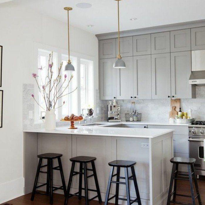 facade cuisine couleur taupe tirant sur le gris plan de travail blanc exemple - Cuisine Blanc Gris Taupe