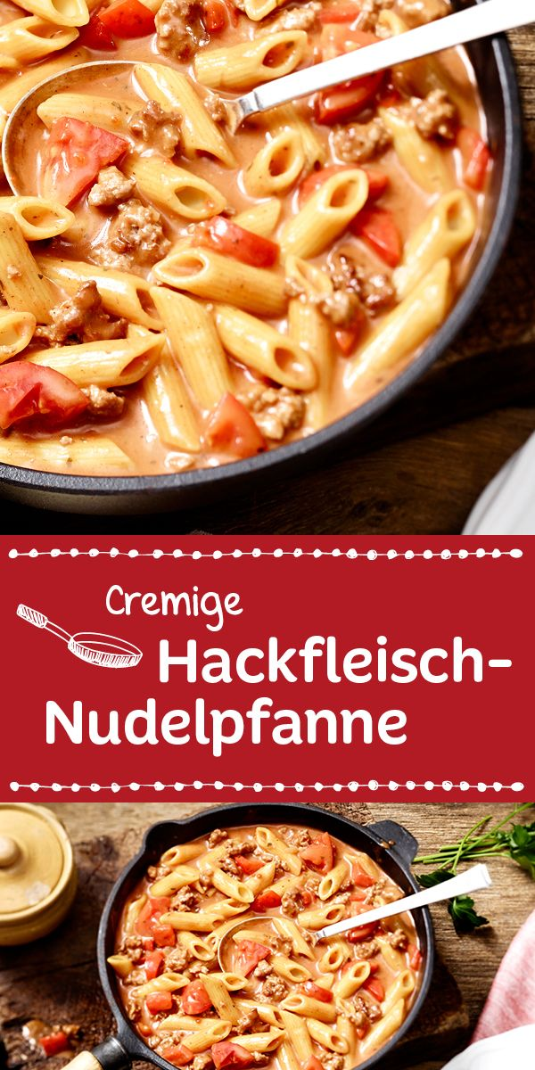 Leckere Penne in einer herrlich cremig-würzigen Sauce mit Hackfleisch und Tomaten.