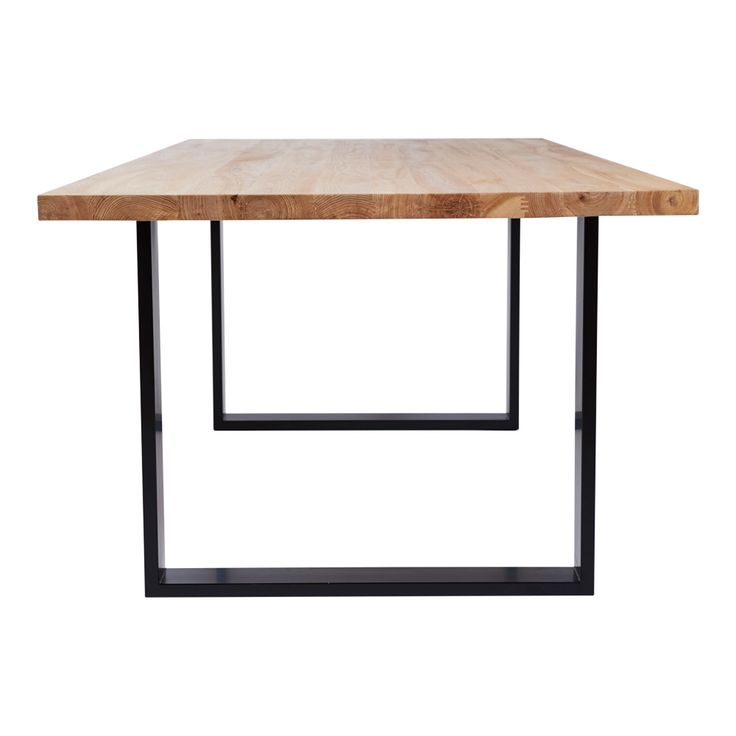 This modern and designer Pyrmont rectangular dining table is designed with a solid wooden and timber top and black steel metal legs.