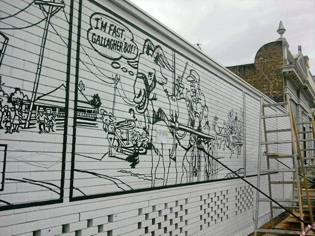 #goatvet likes this mural of the first major Goat Race that was conducted at the Shamrock Hotel in Maryborough in 1900.