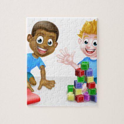 Cartoon Boys Playing Jigsaw Puzzle - kids kid child gift idea diy personalize design
