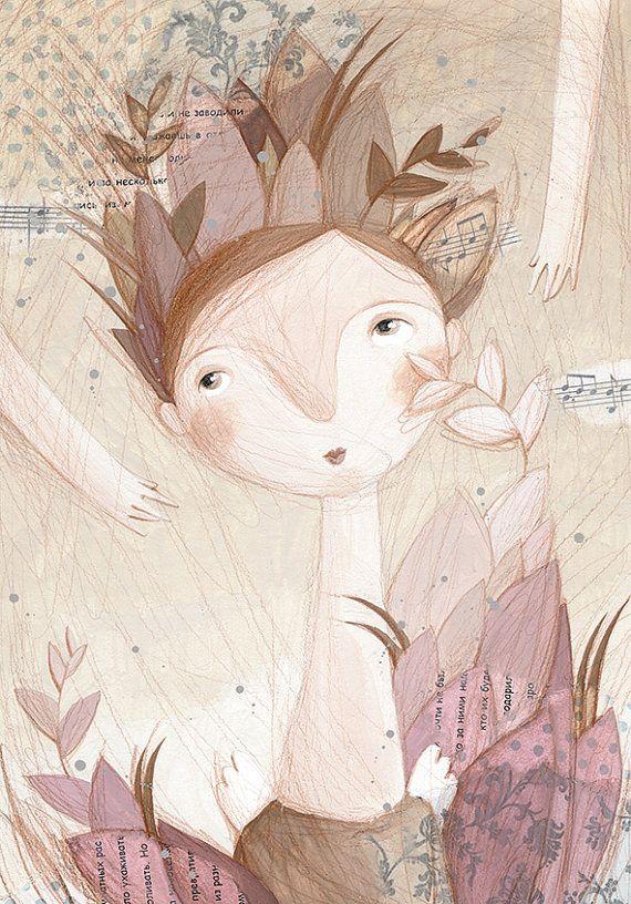 Illustration-Angel in Crown of Leaves-Art Print-А4 // By Prosvetovaart
