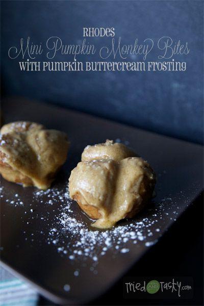 Rhodes Mini Pumpkin Monkey Bites with Pumpkin Buttercream Frosting // TriedandTasty