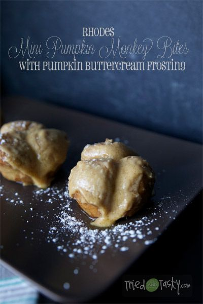 Rhodes Mini Pumpkin Monkey Bites // What makes these little babies DIVINE is the Pumpkin Buttercream Frosting that takes them over the edge! | Tried and Tasty
