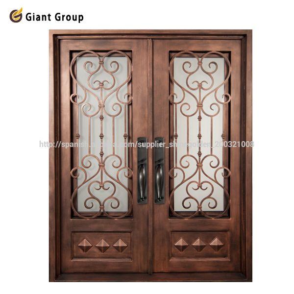 21 best wrought iron single doors images on pinterest for Puertas de fierro para exterior
