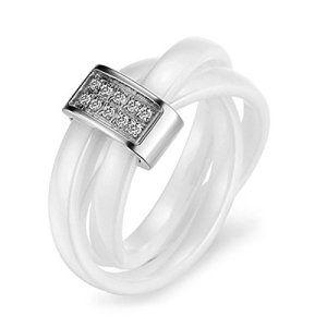 MunkiMix Acier Inoxydable Céramique Anneau Bague Bague Zircon CZ Oxyde de Zirconium Blanc Argent Rectangulaire Rectangle Mariage Taille 57…