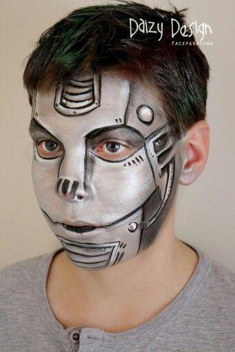 Robot face paint schminkdesign by Daizy Design