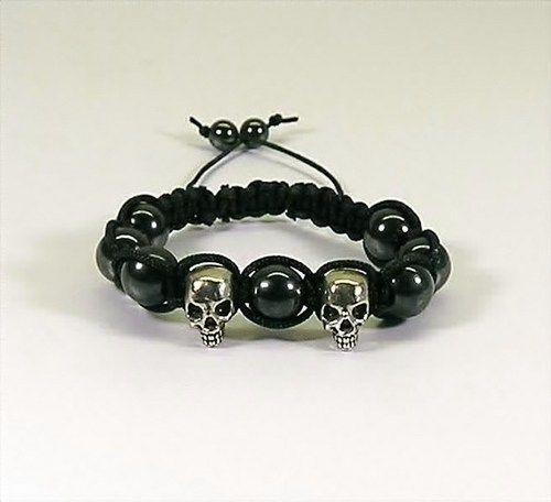 Macrame Bracelet Black with Skull Beads and Hematite Beads   HCLTreasures - Jewelry on ArtFire