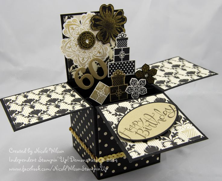 Stampin Up 3D Card in a box 60th birthday card. Black and Gold theme using Modern Medley paper, Flower Shop stampset, petite petals stampset and matching punches and the prezzys are  the Wishing you set - now retired from the Christmas Holiday Catalogue, Sassy Salutations is the birthday wording  www.facebook.com/NicoleWilsonStamp