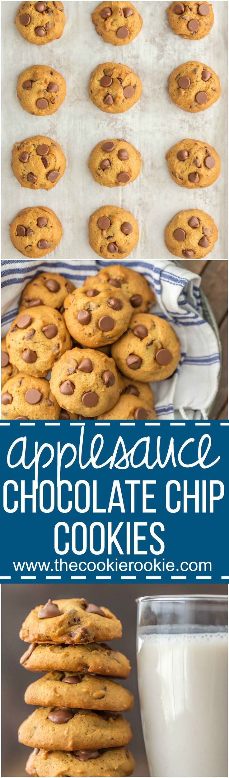 APPLESAUCE CHOCOLATE CHIP COOKIES are the perfect skinny(er) way to enjoy holiday baking! These soft chocolate chip cookies are loaded with chocolate and made with applesauce! Amazing flavor, less calories, and you can eat the dough with no worries!