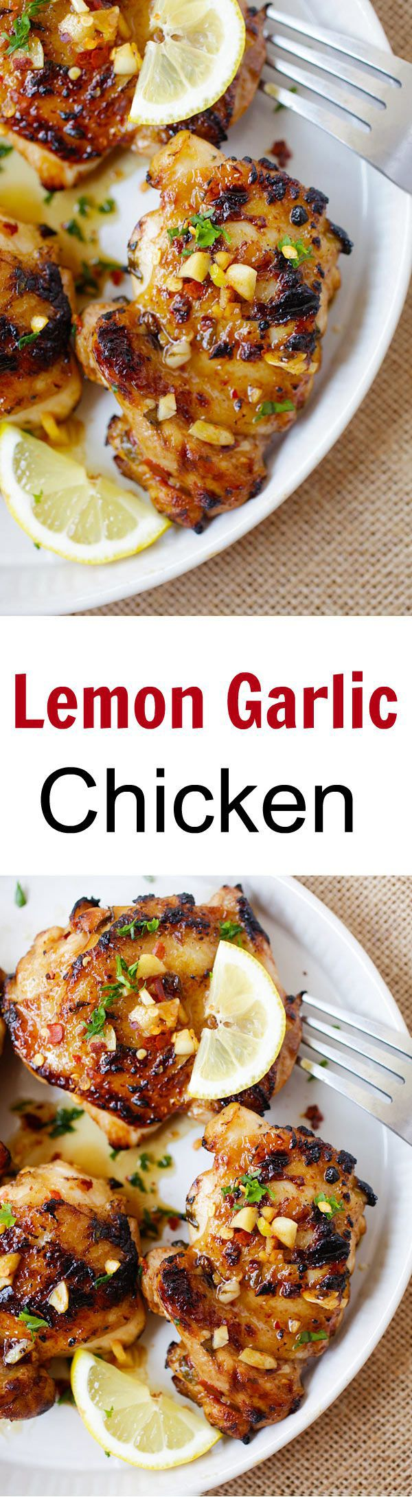 Lemon Garlic Chicken - Juicy, moist chicken marinated with lemon and garlic, and grilled to perfection. Easy and SO good!