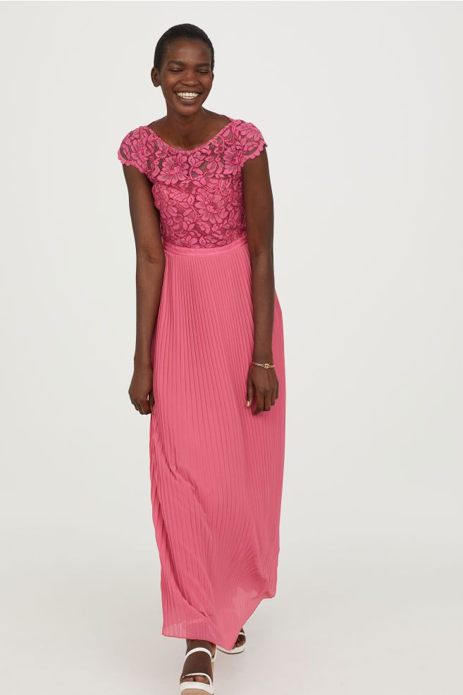 748654a0db Pleated long dress - Pink - Ladies