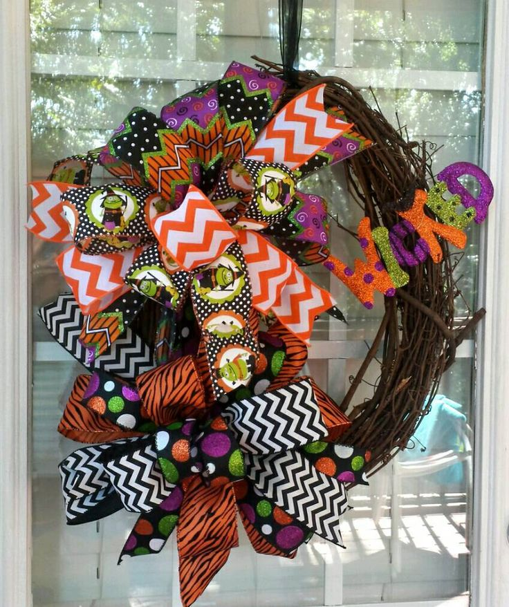 Grapevine Oval Halloween Wreath Wicked Front Door Large Bow