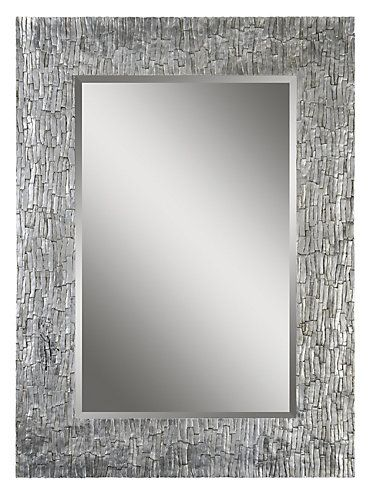 The border of the Santa Fe bevelled mirror is rich and refined with its aged silver leafing and exquisite bark like texture.