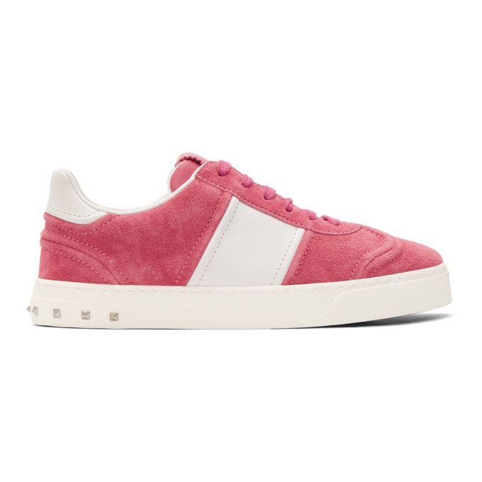 Valentino Pink & White Valentino Garavani Suede Flycrew Sneakers qktK16pLQ4