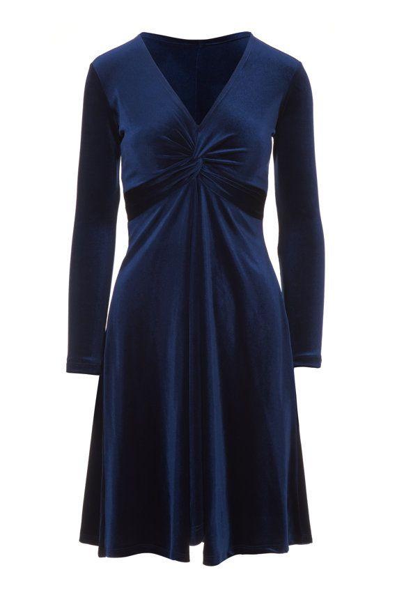 Blue velvet dress cocktail dress christmas party by Valdenize