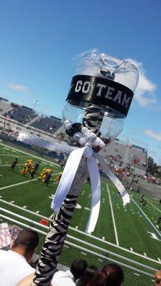 Empty water bottle+tape+ribbon+ beads=Team spirit noise maker-Go Team!                                                                                                                                                                                 More