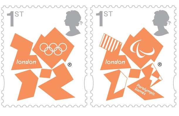 Many stamps have been created for the Olympics and Paralympics. Here are two of them. Many feature various sports images. These two stamps feature the logos in orange.