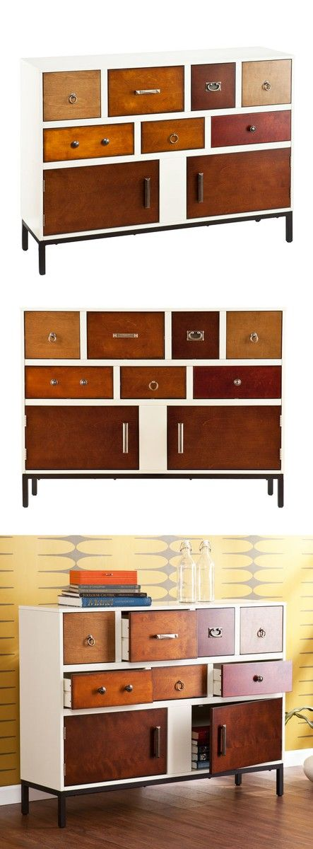 Modern style elegance mixes with simple flair to highlight this unique dresser console's style. Fashioned of poplar wood, MDF, and wood veneers and adorned with assorted hardware finished in aged pewter, oil-rubbed bronze, and antique brass, this one-of-a-kind structure will brighten up any room without being overbearing, and will bring lightness and simplicity without the dullness of traditional construction.