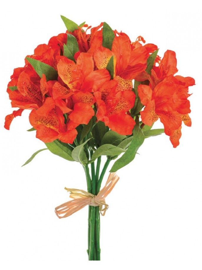 orange artificial alstromeria bundle will last a life time