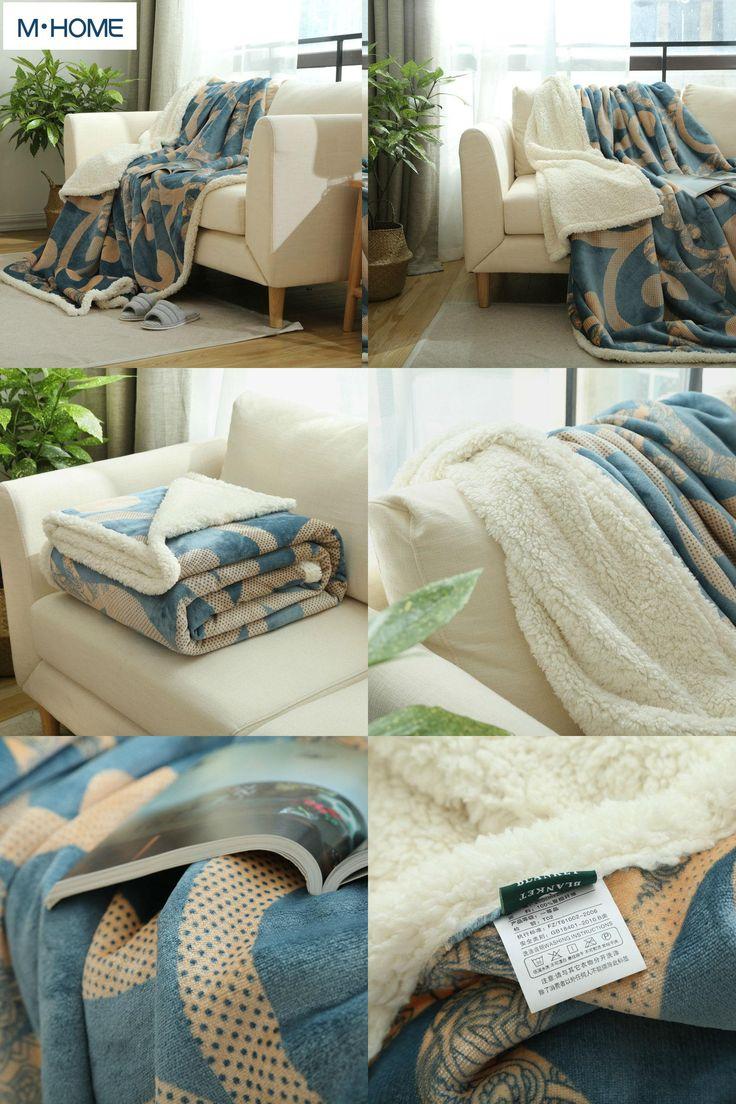 [Visit to Buy] New Printing Berber Fleece Blanket thickening double layer winter flannel blanket single sofa blanket coral fleece bed sheet #Advertisement