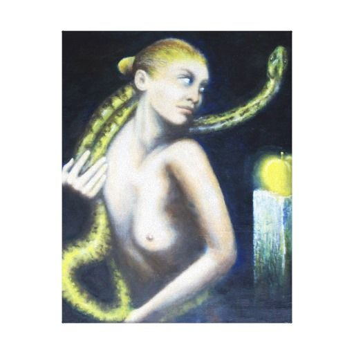 EVE,THE SNAKE AND APPLE CANVAS PRINTS