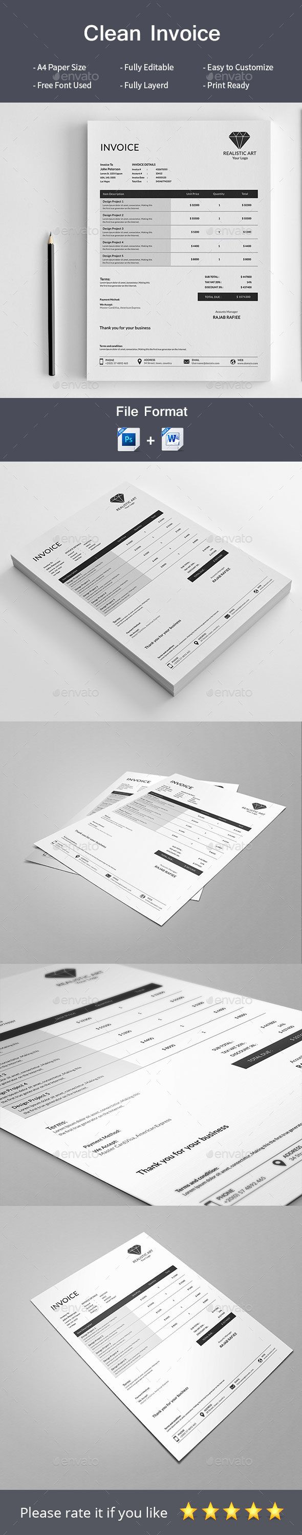 Clean Invoice — Photoshop PSD #automatic #bill • Download ➝ https://graphicriver.net/item/clean-invoice/19505990?ref=pxcr