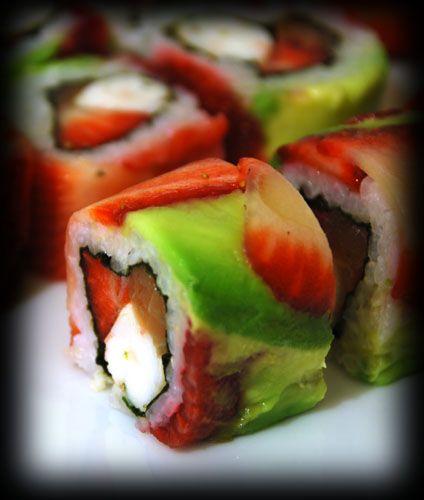 Strawberry sushi roll.