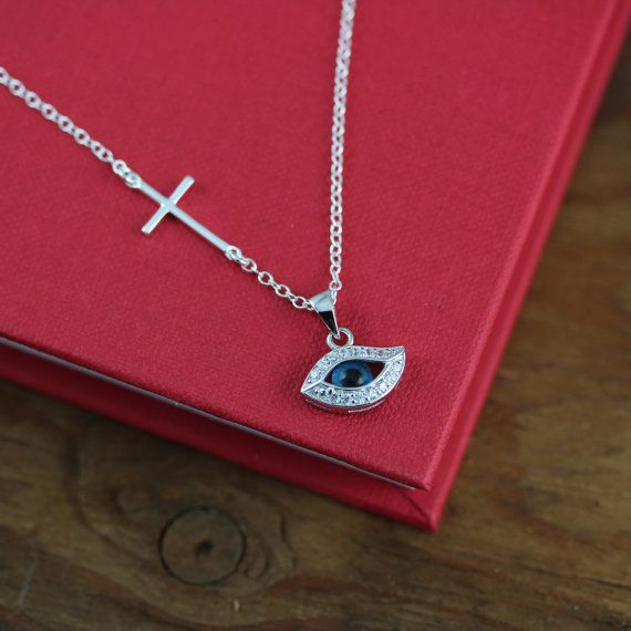 Cross and evil eye necklace side Cross necklace by LifeOfSilver, $35.80