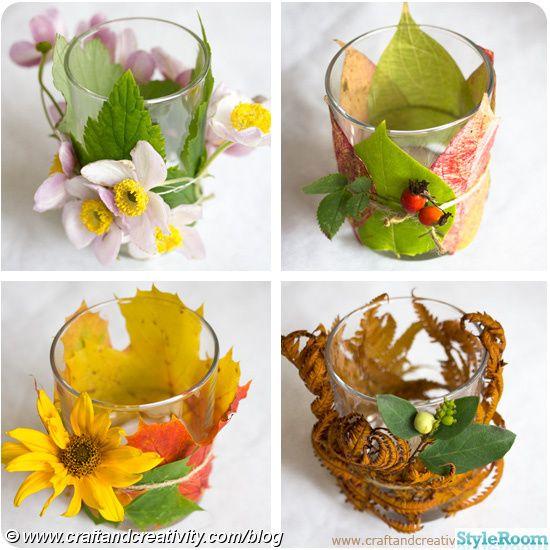 höst,pyssel,dukning,blommor,ljuslykta,blad,trädgård,ljus,höstpyssel
