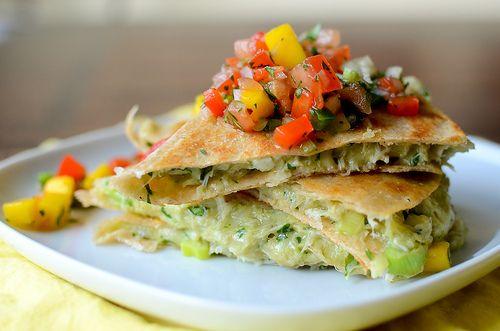 Crab & Avocado Quesadillas with Mango Salsa: Food Recipes, Fun Recipes, Crabs And Avocado Quesadillas, Avocado Recipes, Avocado Salad, Crabs Avocado, Mango Salsa, Avocado Overwhelmed, 100 Recipes