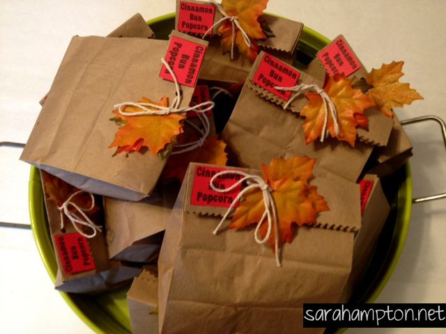 Fall party favors cinnamon bun popcorn