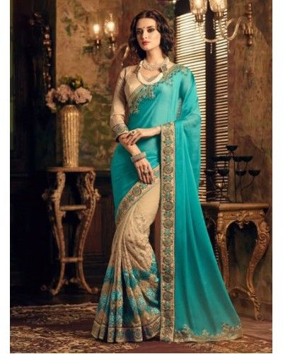 Turquoise & Ivory Embroidered Saree